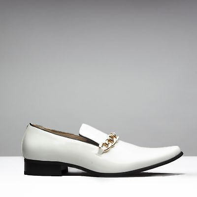 Mister Carlo SOVEREIGN Mens Patent Funky Fancy Dress Slip On Loafers Shoes White