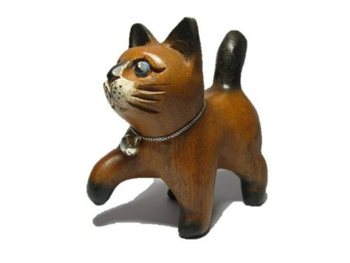 Hand Carved Wooden Cat Statue Figurine Crafted Wood Leg walking Home Decor Gift