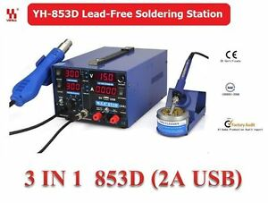 YIHUA-3in1-Soldering-Station-SMD-Rework-Iron-Hot-Air-Gun-DC-Power-Supply-853D-2A