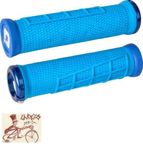 ODI ELITE FLOW LOCK-ON LIGHT BLUE W// BLUE CLAMPS BICYCLE GRIPS