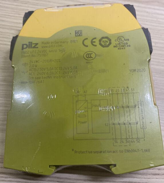 FACTORY SEALED PILZ PNOZ S7 Safety Relay 24 VDC 4 N.O. 1 N.C. 751107