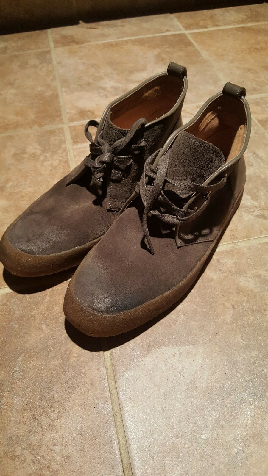 Men JOHN VARVATOS suede TIE Up Ankle Boots SIZE 9.5 M NWOB