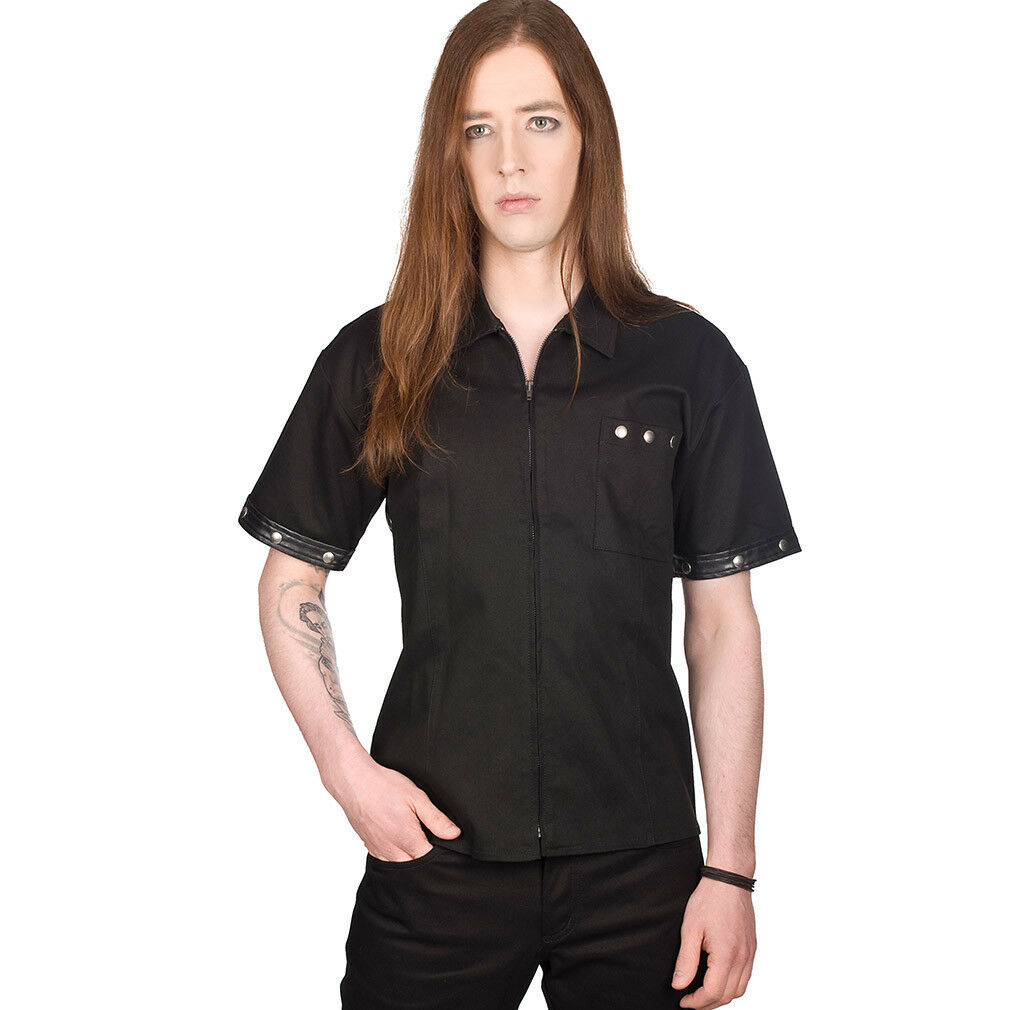 nero Pistol GOTHIC Goth Steampunk Punk Camicia-Stripe Shirt Denim