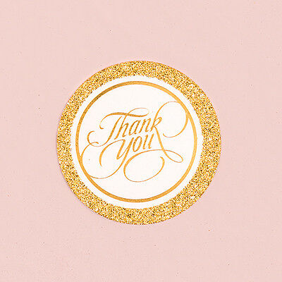 20 Round Gold Glitter Wedding Anniversary Party Favor Thank You Tags Cards