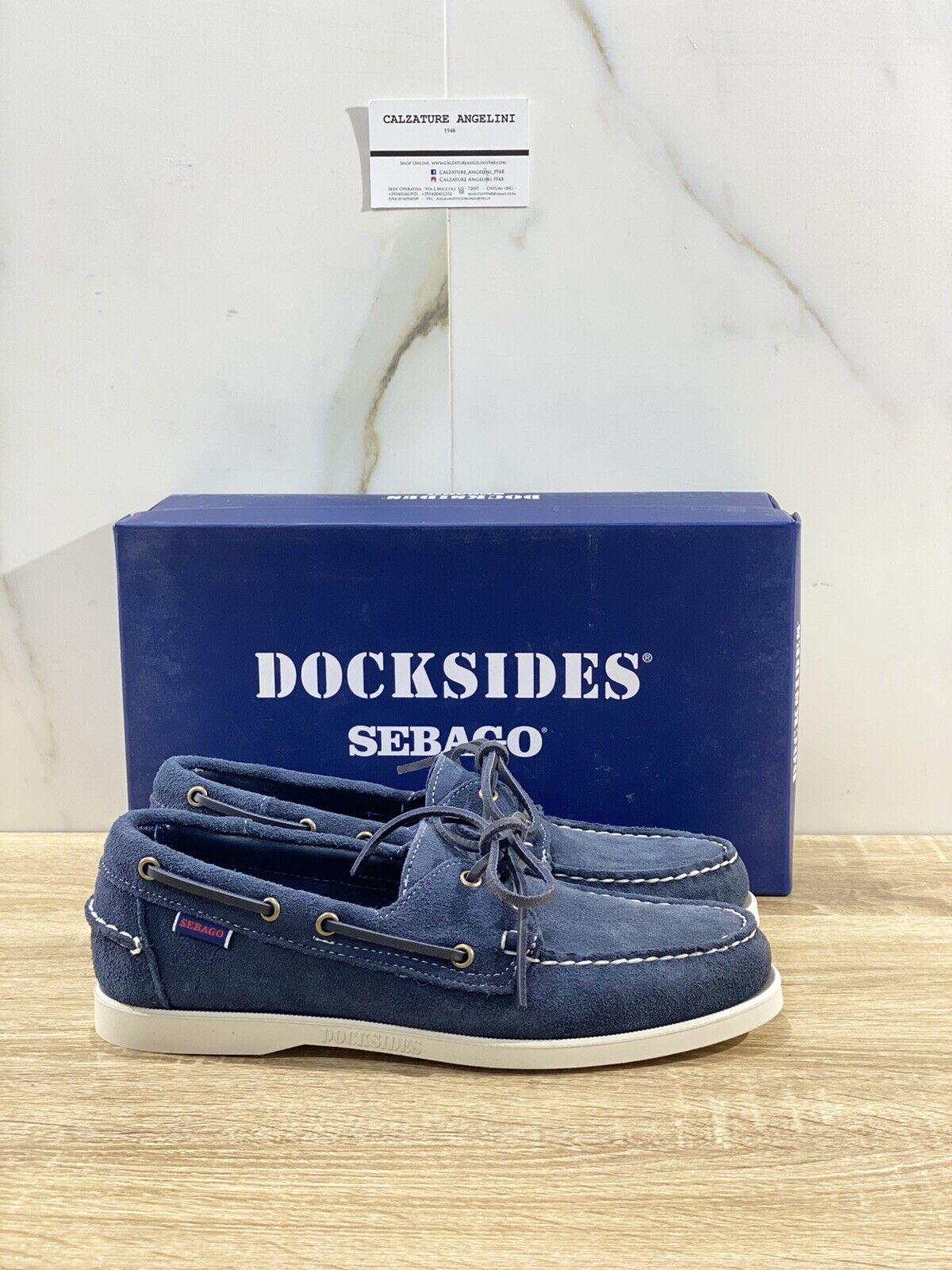 Sebago Docksides Portland Man Suede Blue Boat Shoes 45