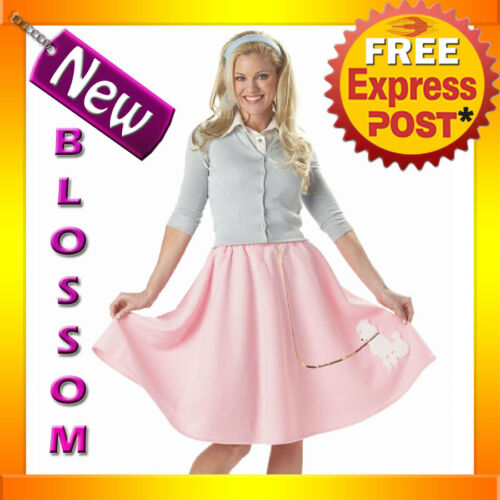 C791 Ladies Adult Grease 50s Sock Hop Pink Poodle Skirt Costume Halloween