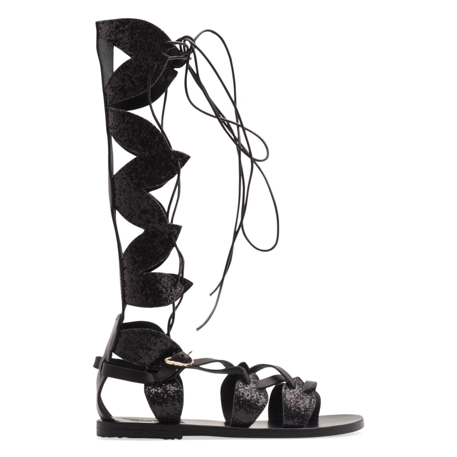 Sandalias Griego Antiguo Negro Brillo Alta filareskia Gladiadores Sandalias Zapatos 39