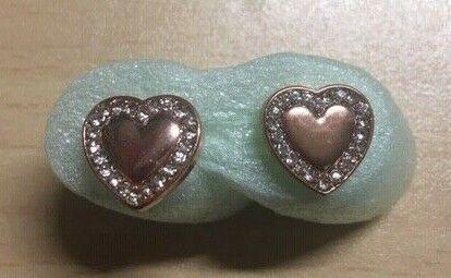 Earrings  Tone Logo Heart Charm Rose gold color