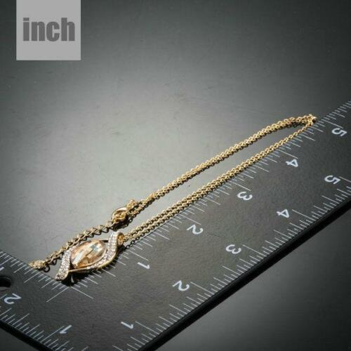 18K Real Gold Plated Champagne Stellux Swarovski Crystal Pendant Necklace