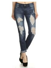 New Cleo Distressed Embroidedered Fitted Stretch Skinny Straight Leg Jeans 0-13