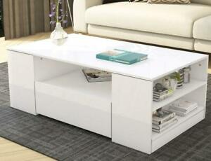 Details About Modern High Gloss Coffee Table Storage 2 Drawers Living Room Furniture White Uk