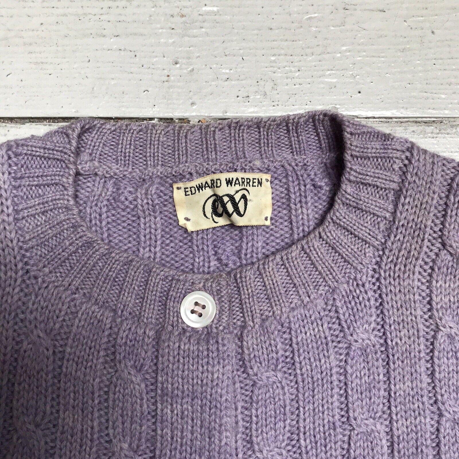 VTG EDWARD WARREN Light Purple Lilac Cable Knit S… - image 3