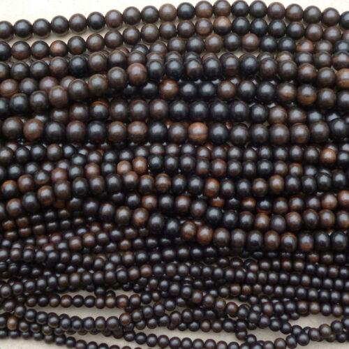 Natural Tiger ébène bois perles rondes diverses tailles