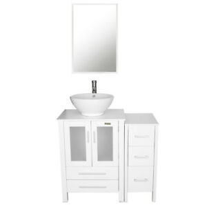 36 Inch Bathroom Cabinet White Small Side Vanity Vessel Sink Faucet