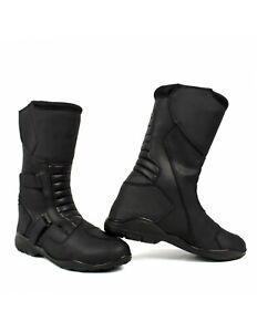 SHUA-Shadow-WP-mannen-leer-touren-waterbestendig-motor-laarzen-zwart