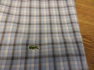 100-authentique-Devanlay-LACOSTE-manches-courtes-chemise-a-carreaux-taille-40-grande-NEUF