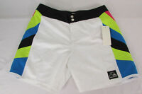 Quicksilver Shorts Pool Men Fashion White Blue Neon Swimsuit Boxers Size 30