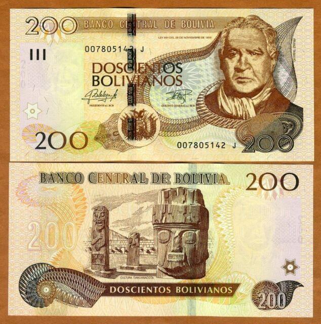 BOLIVIA 200 BOLIVIANOS 1986 2015 SERIES J P 247 UNC
