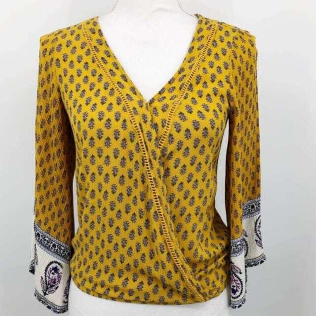 Xhilaration Womens Sz S Blouse Floral Bell Sleeve Blouson V Neck Yellow Boho