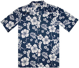 500-6849-Blue-Hawaiian-Classic-Shirt-Tropical-Island-Flowers-Hibiscus-Plumeria