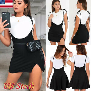 US-Women-Mini-Suspender-Skater-Skirt-High-Waisted-Pleated-Adjustable-Strap-Dress