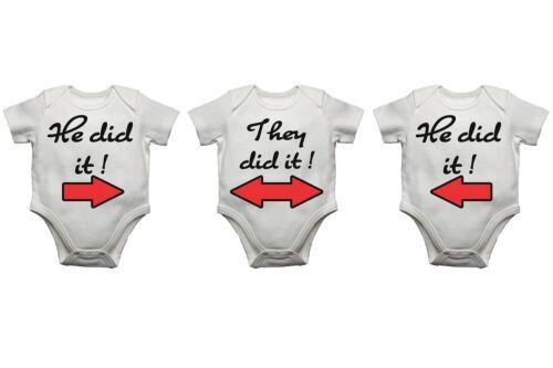 Il l' a fait ils l/'ont fait il l' a fait drôle triplets bébé gilet body