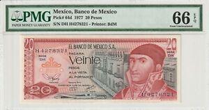 PMG-Certified-Mexico-1977-20-Pesos-Banknote-UNC-66-EPQ-Gem-Pick-64d-US-Seller