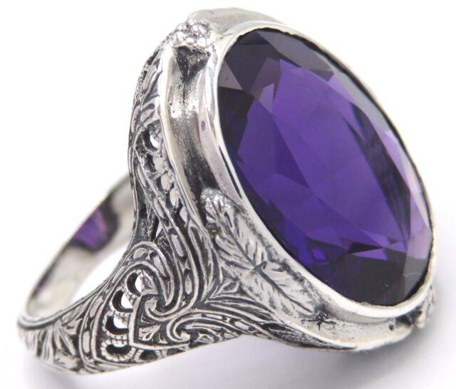 Amethyst  Ring  925 STERLING SILBER   Gr. 59   Antik Style