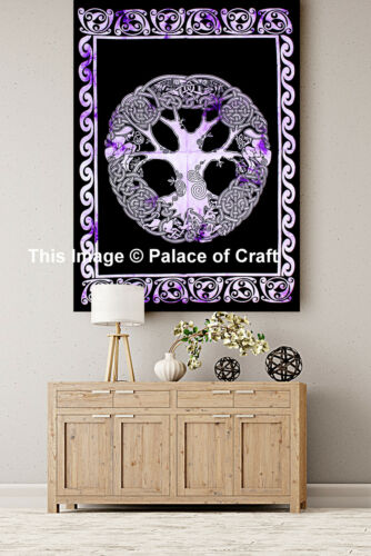 30*40 Cotton Purple Wall Hanging Indian Tapestry Celtic Tree Of Life Poster Boho