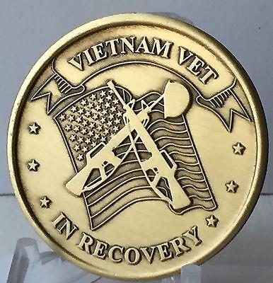 Vietnam Vet In Recovery Serenity Prayer Bronze Medallion Coin Chip AA NA Vets