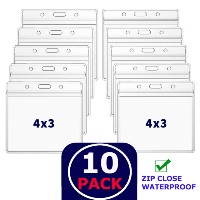 10 Pack CDC Vaccination Card Protector 4 X 3 Holder Clear Sleeve Waterproof Zip