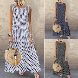 ZANZEA-Women-Sleeveless-Long-Maxi-Dress-Polka-Dot-Summer-Tank-Dress-Shirt-Dress