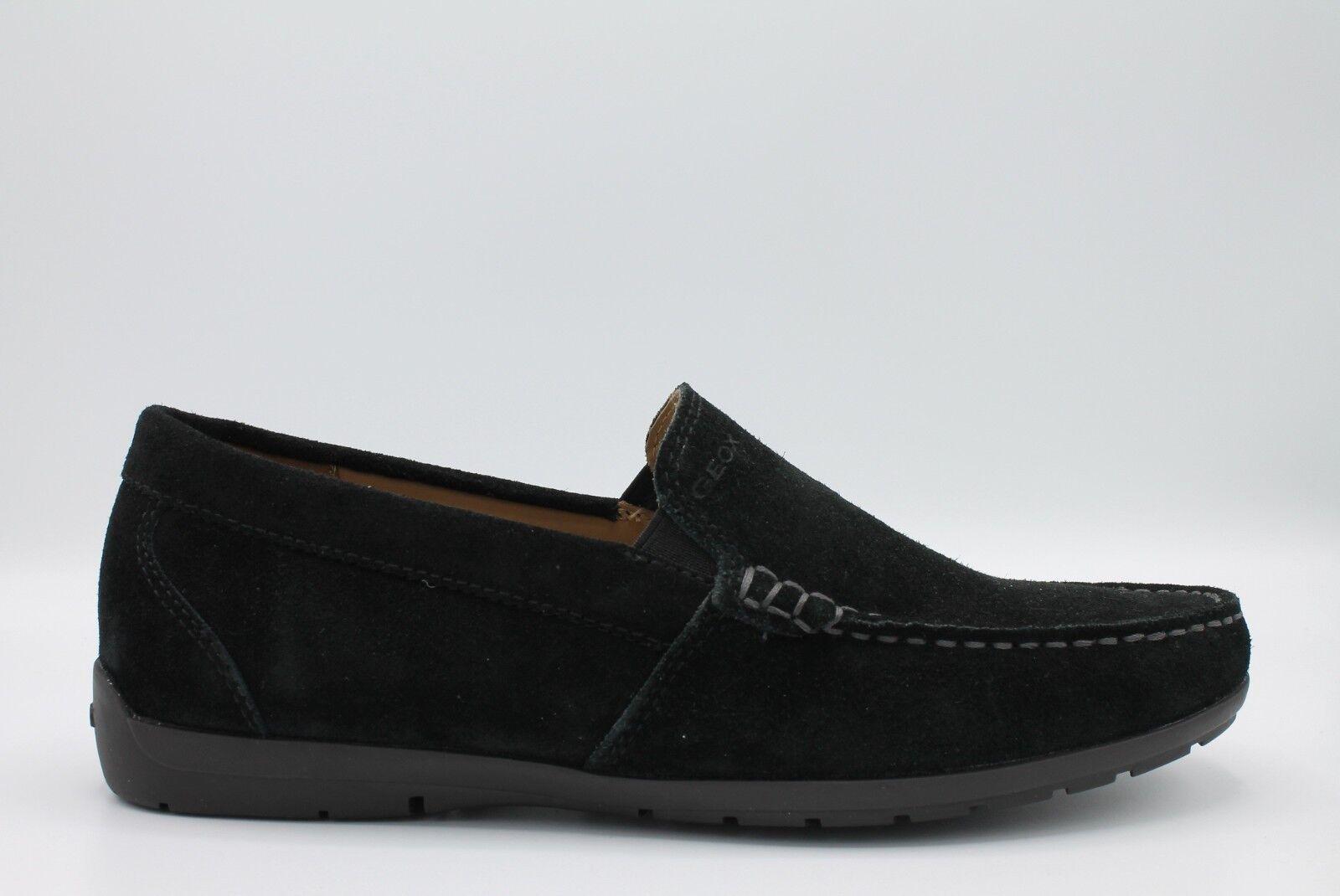 Geox mocassini Simon U34R1C scarpe uomo mocassini Geox in morbido camoscio nero suola in gomma 713449