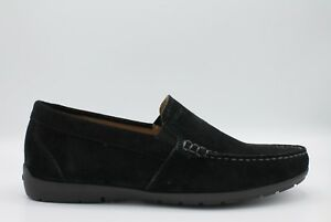 Details about Geox Simon U34R1C Men's Shoes Loafers in Soft Suede Black Rubber Sole