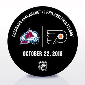 Philadelphia-Flyers-Issued-Unused-Warm-Up-Puck-10-22-18-Vs-Colorado-Avalanche