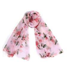 H1 Women Girls Rose Voile Soft Silk Chiffon Shawl Wrap Wraps Scarf Scarves (Pink