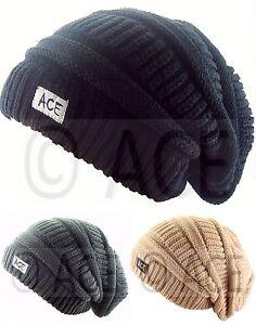 Mens-Womens-ACE-Plain-Chunky-Knit-Ribbed-Urban-Head-Warm-Baggy-Slouch-Beanie-Hat
