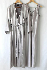 48080397a39e Image is loading Halston-Night-Gown-Robe-Set-Champagne-Silver-Maxi-
