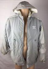Vintage Adidas Nylon Embroidered Jacket Men's Large L Gray White           C1