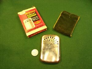 NICE-OLD-VTG-034-PEACOCK-POCKET-WARMER-CIGARETTE-LIGHTING-MODEL-034-WITH-BOX-CASE