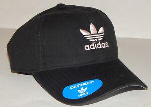 Adidas Men s Originals Precurved Washed Hat   Cap NEW Trefoil Black ... 9079247c024