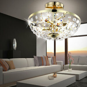 Messing Decken Beleuchtung Rund Hange Lampe 288 Glas Kristalle