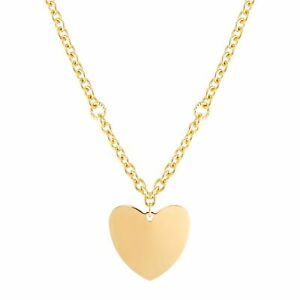 """Welry Italian-Made Polished Curved Heart Pendant in 18K Gold-Plated Bronze, 18"""""""