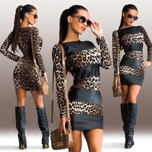 New-Women-039-s-Sexy-Leopard-Print-Long-Sleeve-Leather-Splice-Short-Mini-Party-Dress