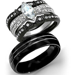 New 4 Pc His Tungsten Her Black Stainless Steel Wedding Engagement