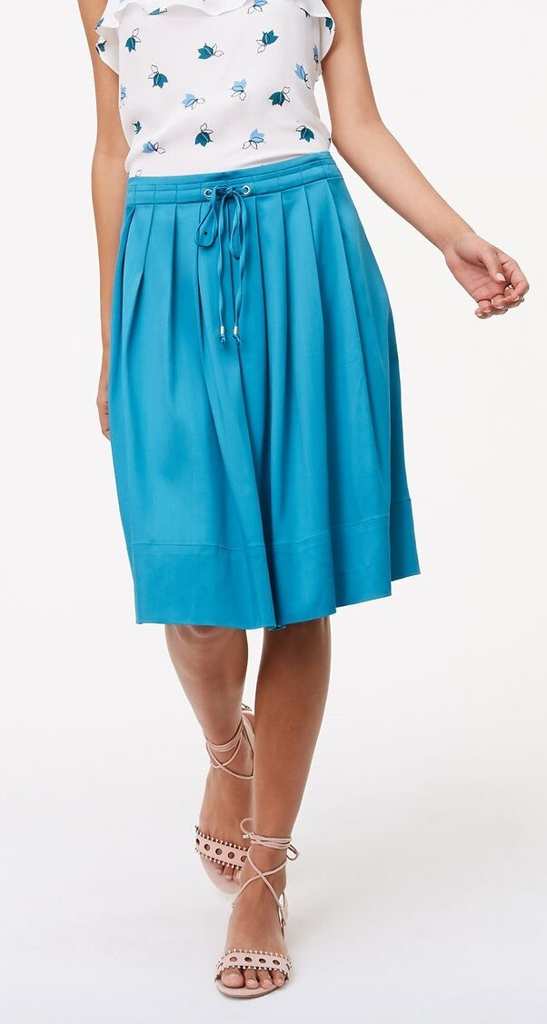 Ann Taylor LOFT Pleated Drawstring Skirt Size 14 NWT Pure Turquoise color