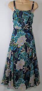 Nuevo-M-amp-S-Una-Floral-Print-Midi-Sol-Per-Vestido-UK-Size-6-22-Azul-Marino-Verde