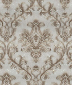 Image Is Loading Exclusive Sparkle 2 Cream Brown Damask Glitter Wallpaper
