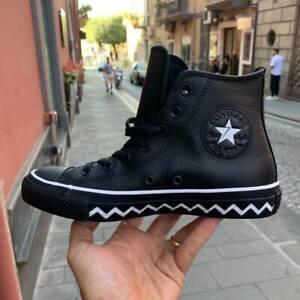Converse-All-Star-Nera-alte-564948-in-pelle-suola-zig-zag-bianca-nuovo-arriv0