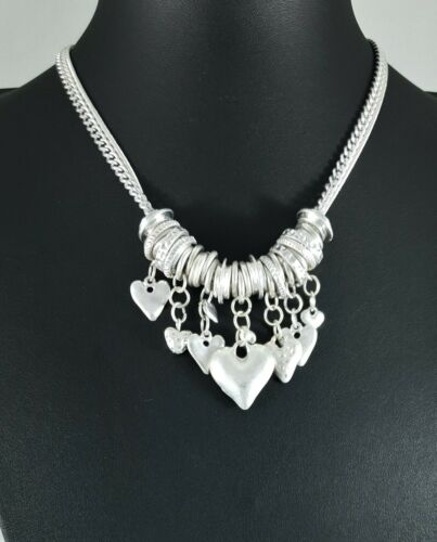 Modern Two Row Silver Tone Chains Various Heart /&  Ring Charms Short Necklace